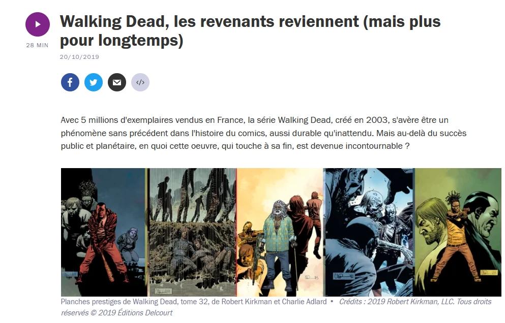 Walking Dead dans Le rayon BD sur France Culture: Yaneck Chareyre intervient avec Thierry Mornet éditeur Delcourt